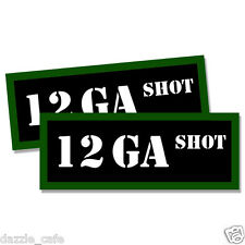 """12 GA SHOT Ammo Can 2x  Labels  Ammunition Case 3""""x1.15"""" stickers decals 2 pack"""