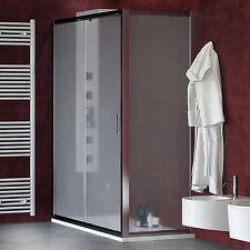 Box doccia 90x130 cm scorrevole profilo alluminio cromato vetro opaco temperato