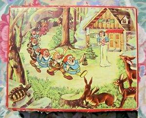 Vintage Disney Snow White Cube Block Puzzle - Made In Czechoslovakia - Good Used