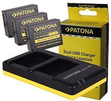 NP-W126 3x AKKU Battery Pack  + Doppel-DUAL Ladegerät für FUJI Fujifilm NP-W126s