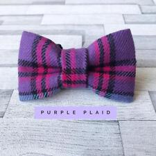 Purple Plaid Dog Bow Tie - Medium Size