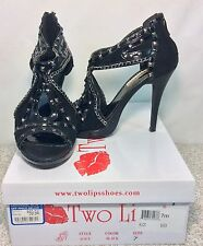 """Two Lips Black Suede and Patent Leather """"Alice"""" Platform Stiletto Sz 7 M"""