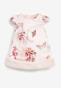 New Designer Ted Baker Baby Girls Rose Light Pink Fur Party Dress 3-6 Months