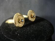 Old Vtg Round Gold Tone Decorative Round Faux Stone Gem Cufflinks Jewelry