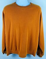 Tommy Bahama Mens Large Orange Gray Knit Sweater 100% Cotton Long Sleeve Shirt