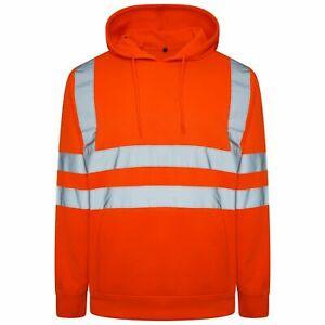 Mens Hi Vis Viz 2 Two tone High Visibility Reflective Zipper Hoodie Sweatshirt