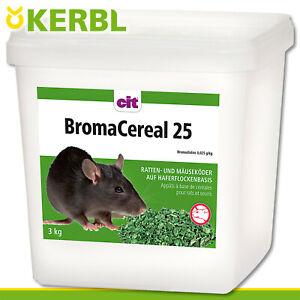 CIT 3 kg Broma Cereal 25 Rattengift Mäusegift Rattenköder Mäuseköder Giftweizen