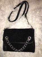 Madden Girl Crushed Velvet Crossbody Bag black new