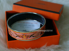 NIB Authentic Hermes Printed Wide Enamel Bracelet Coral Pink Brazil  PHW Bangle