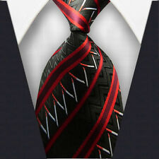 1x Classic Striped WOVEN JACQUARD Silk Men's Suits Tie Necktie Red M107