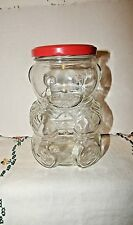 KRAFT PEANUT BUTTER BEAR JAR STRIPED SWEATER VINTAGE 1988 GLASS COLLECTABLE