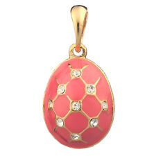 Faberge Egg Pendant / Charm Grid with crystals 2.3 cm pink #2301-04