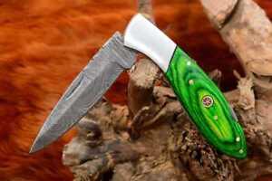 MH KNIVES RARE CUSTOM DAMASCUS STEEL FOLDING/POCKET KNIFE BACK LINER LOCK MH-38