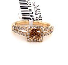 14K Yellow Gold 0.63 TCW Diamond Semi Mount Engagement Ring Center 0.50 Ct
