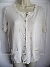 Talbots Sweater NWT M White Silk Cotton $69.50 Short Sleeve Button Down Cardigan