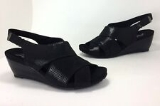 Anne Klein AK Sport Carolyn Size 9.5 Black Faux Leather Open-toe Wedge HEELS