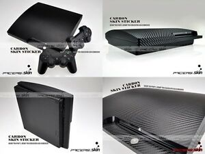 Black Carbon Fiber Full Body Skin Sticker for PS3 Slim and 2 controller skins