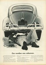 """1961 VW Volkswagen Rear View Mechanic """"Our Number One Salesman"""" PRINT AD"""