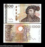 SWEDEN 1000 KRONER P68 2005 GUSTAF VASA THRESHING UNC CURRENCY MONEY BILL NOTE