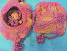 DOLL CRADLE PURSE removable white doll WITH clothes-FUCHSIA STORM hand crochet