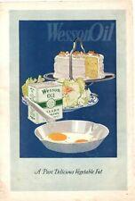 1920 ORIGINAL VINTAGE WESSON OIL COOKING OIL MAGAZINE AD
