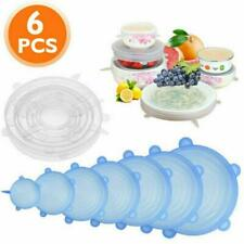 6x Universal Silicone Stretch Lids Suction Cover Cooking Pot Lid Bowl Pan Tool