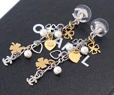 CHANEL Many Charm Dangle stud Earrings Clover & Heart & Pearl w/BOX