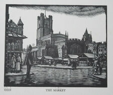THE MARKET - CAMBRIDGE COLLEGE LIMITED WOODCUT PRINT / WOOD ETCHING - GREENWOOD
