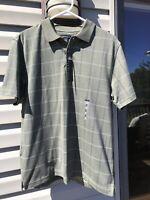 NWT Van Heusen Men's Collared Green Printed Short Sleeve Windowpane Polo Shirt M