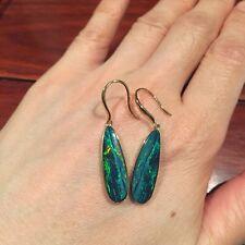 Australia Doublet Sparking Opal Earrings/Dangler 9K Gold(37.5% Gold)2.85G