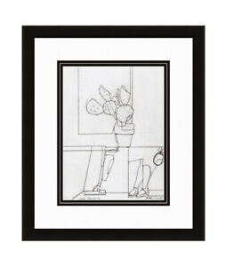 "WOW 1975 Valerio ADAMI Antique Print ""Scena Domestica"" SIGNED Gallery Framed COA"