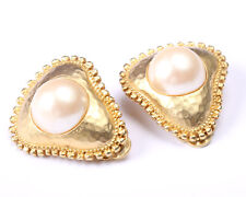 Vintage 1950s Brushed Gold Tone and faux Pearl Earrings