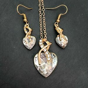 Heart Gold Plated White Crystal Necklace And Earrings Set