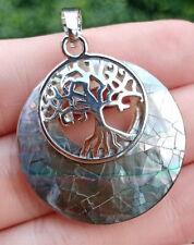 Natural Black shell Tree of life Pendant Chakra Reiki Healing Amulet Energy