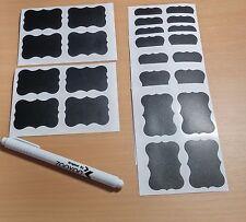 Pequeño Frasco Tiza/Blanco Pluma Placa Etiqueta Pegatinas 5 X 3.5cm (36 piezas) + Pluma
