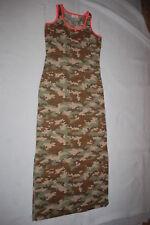 Womens GREEN BROWN CAMO PRINT MAXI DRESS Soft Knit SLEEVELSS Orange Trim M 8-10