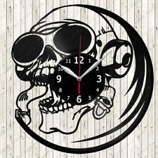 Skull Vinyl Record Wall Clock Decor Handmade 2582