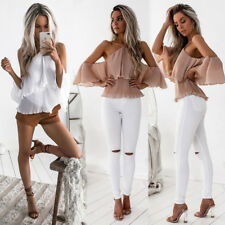 Womens Off Shoulder Loose Beach Ladies Casual Shirt Tops Blouse Tops