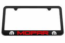 MOPAR Satin Black License Plate Frame - Red / Silver Engraved Logo - MADE IN USA