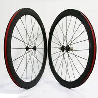 Carbon 700C Road Bike Wheelset 50mm Depth Novatec A271/F372 Hub Clincher 3K Matt