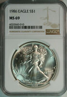 1986 American Eagle .999 Pure Silver Dollar / NGC MS69 / First Year Issued