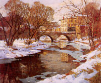 Oil painting Mulhaupt, Frederick John - Choate Bridge, Winter Hand painted art