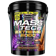 Muscletech MASS TECH Protein Weight Gainer 22 lb Bonus Size CHOCOLATE BROWNIE