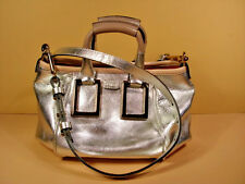 Chloe Silver Leather Ethel Handbag Shoulder Bag Cross Body Purse Clutch New
