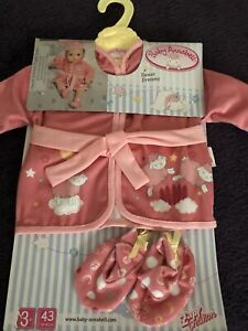 Baby Annabell Dolls Sweet Dreams Dressing Gown Slippers And hanger BNWT