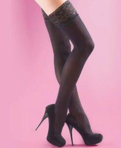 Free P&P Ladies Black Opaque Lace Top Hold Ups 40 Den Size Medium