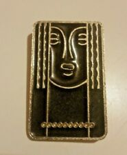 """Charles of the Ritz Art Deco """"Ritz Lady"""" abstract pewter & black lacquer brooch"""