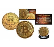USA John F. Kennedy Half 0,5 Dollar Bitcon Crypto Block Chain Gilded Krypto Btc