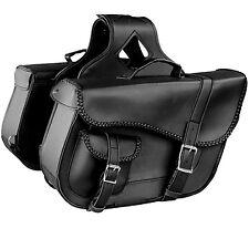 X ELEMENT BLACK BRAIDED MOTORCYCLE PVC  SADDLE BAGS MEDIUM SIZE / OUTER POCKET