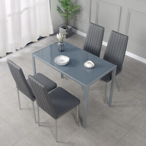 Black/Grey Dining Table and 4 / 6 Padded Chairs Chrome Legs Set Home Furniture